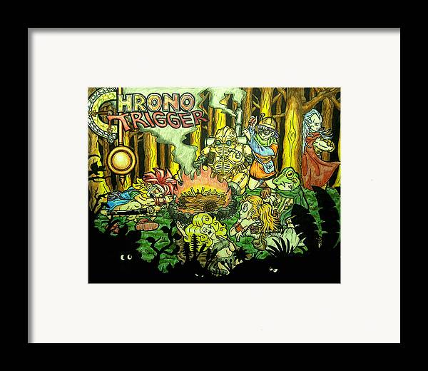 Nintendo Framed Print featuring the drawing Chrono Trigger Campfire by Paul Tokach