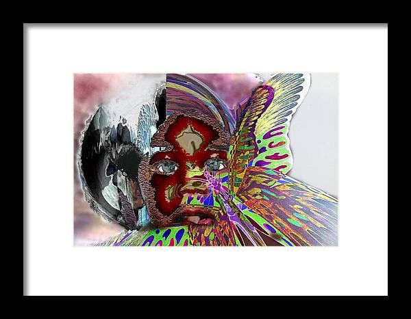Portrait Framed Print featuring the mixed media Chrysalis by LeeAnn Alexander