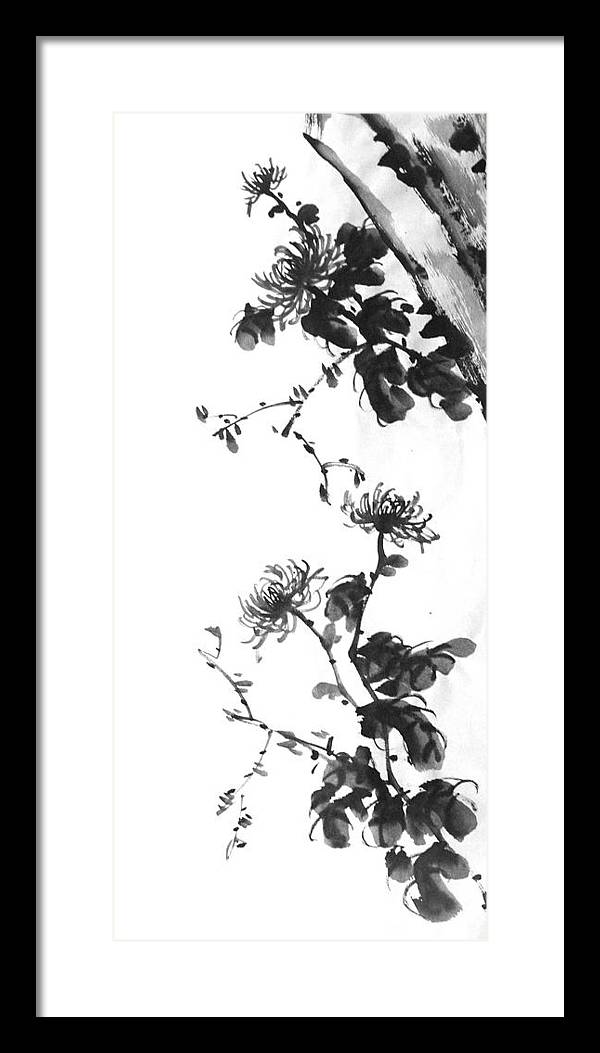Japanese Framed Print featuring the painting Chrysanthemum With Stone by Chang Lee
