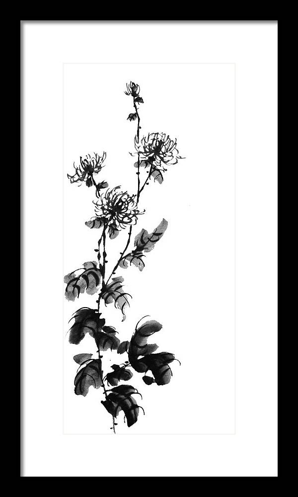 Painting Framed Print featuring the painting Chrysanthemum3 by Chang Lee
