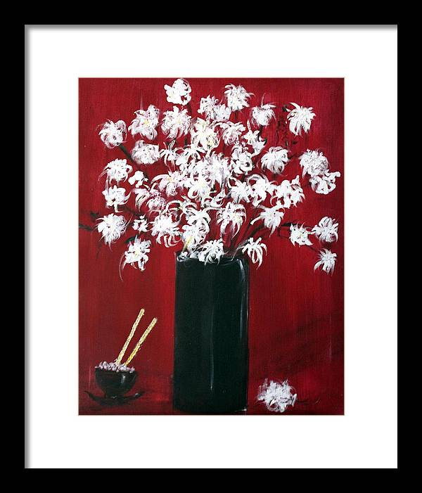 Still Life Framed Print featuring the painting Chrysanthemums And The Rice Bowl by Michela Akers