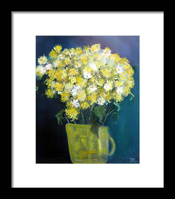 Chrysanthemums Framed Print featuring the painting Chrysanthemums by Michela Akers