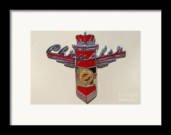 Automobile Framed Print featuring the photograph Chrysler Hood Logo by Larry Keahey