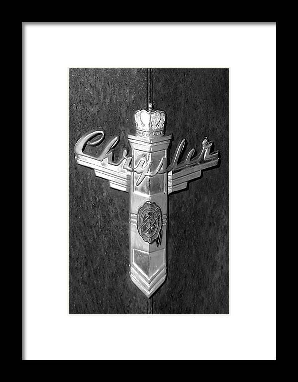 Car Framed Print featuring the photograph Chrystler Emblem by Audrey Venute