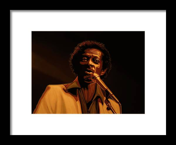 Chuck Berry Framed Print featuring the mixed media Chuck Berry Gold by Paul Meijering