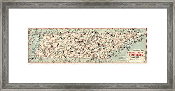 image relating to Printable Map of Tennessee named Snicker Map Of Tennessee - Typical Illustrated Map - Cartoon Vignettes Framed Print