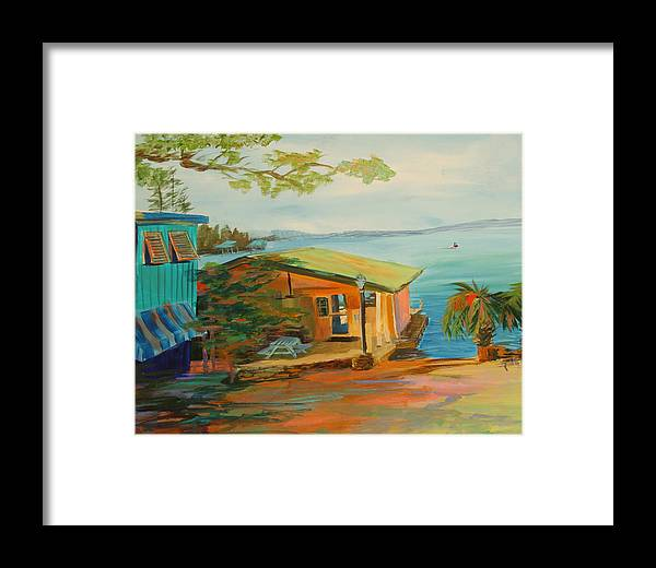 Marina Framed Print featuring the painting Chuck's On Lake Martin by Jill Holt