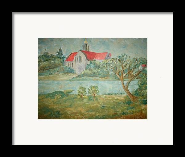 Landscape Churches River Trees Framed Print featuring the painting Church Across River by Joseph Sandora Jr