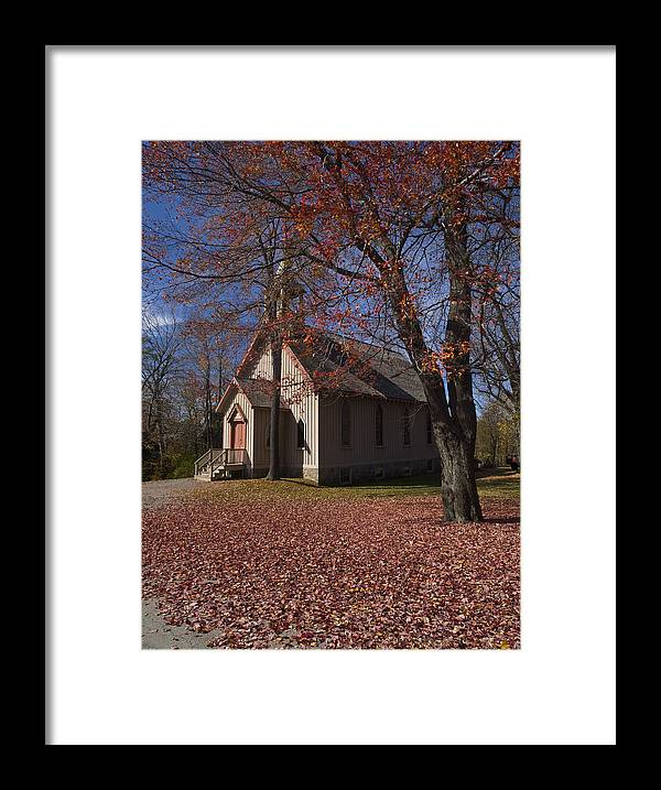 Nature; United States; Fall Foliage; Luzerne County; Historic Structure; Eckley Village; Church Framed Print featuring the photograph Church And Fall Foliage In Eckley Village by Bob Hahn