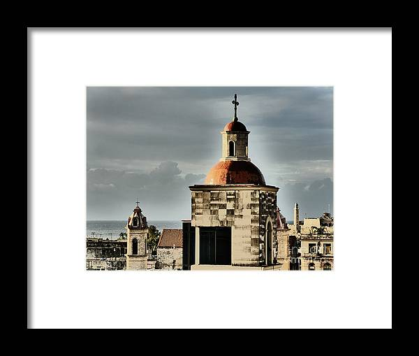 Church Framed Print featuring the photograph Church Bell Tower, Old Havana by Maxine Kamin