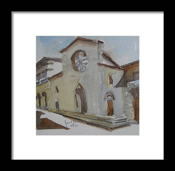 Church Facade Italy Framed Print featuring the painting Church Facade by Janet Butler