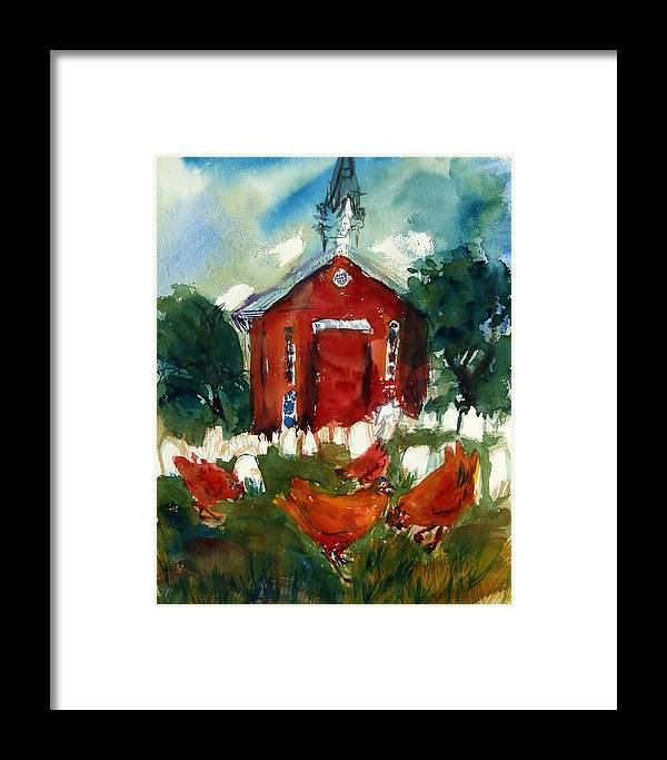 Chickens Framed Print featuring the painting Church Hens by Diana Ludwig