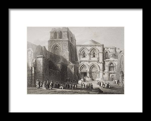 Ancient Framed Print featuring the drawing Church Of The Holy Sepulchre by Vintage Design Pics