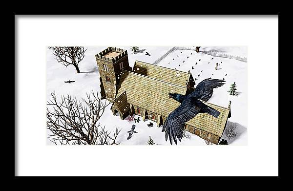 Ravens Framed Print featuring the digital art Church Ravens by Peter J Sucy