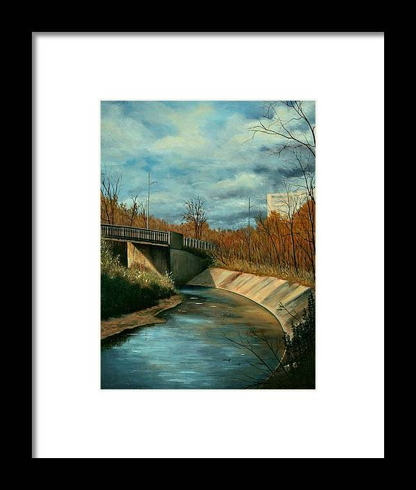 Original Acrylic Stretched Canvas Landscape Bridge Underpass Framed Print featuring the painting Church St. Underpass by Sharon Steinhaus
