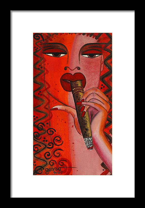 Cigar Artwork Framed Print featuring the painting Cigar Moment Corona Cigar by Helen Gerro