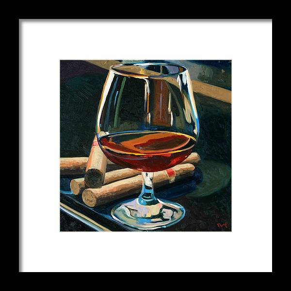 Hampden-sydney College Framed Print featuring the painting Cigars and Brandy by Christopher Mize