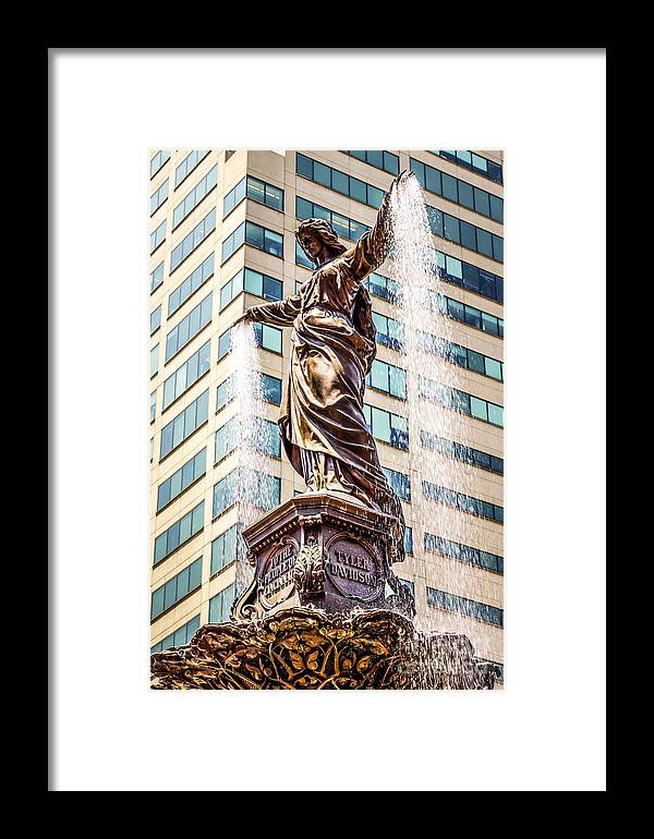 2012 Framed Print featuring the photograph Cincinnati Fountain Genius Of Water By Tyler Davidson by Paul Velgos