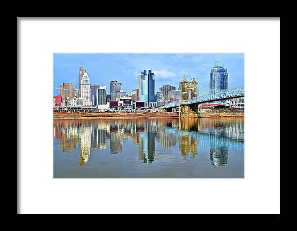 Cincinnati Framed Print featuring the photograph Cincinnati Ohio Times Two by Frozen in Time Fine Art Photography