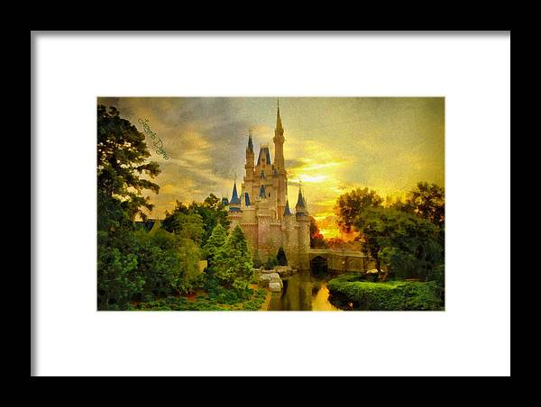 Administration Framed Print featuring the painting Cinderella Castle - Monet Style by Leonardo Digenio