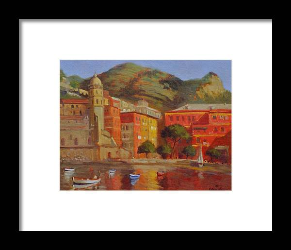 Land Scape Framed Print featuring the painting Cinqua Terra Italian Fishing Village by David Olander