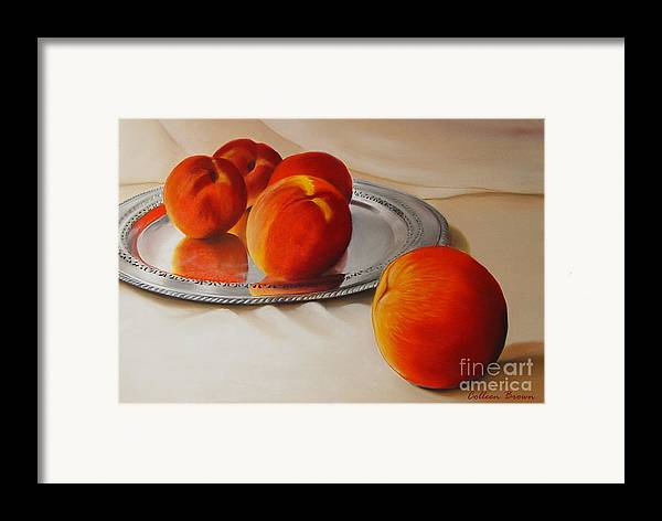 Still Life Framed Print featuring the painting Cinque Pesche by Colleen Brown