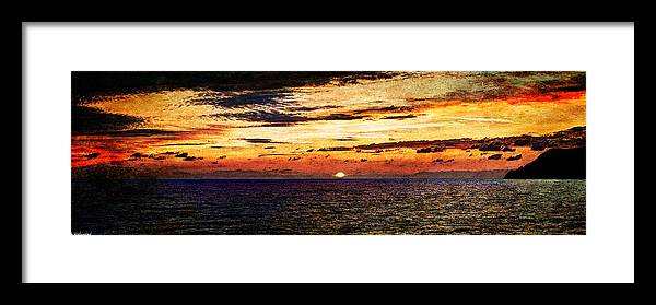 Sunset Framed Print featuring the photograph Cinque Terre - Sunset From Manarola - Panorama - Vintage Version by Weston Westmoreland