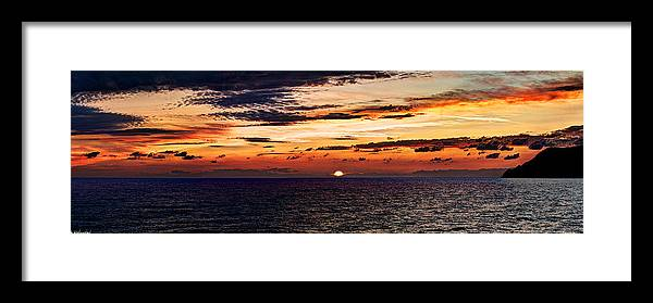 Sunset Framed Print featuring the photograph Cinque Terre - Sunset From Manarola - Panorama by Weston Westmoreland