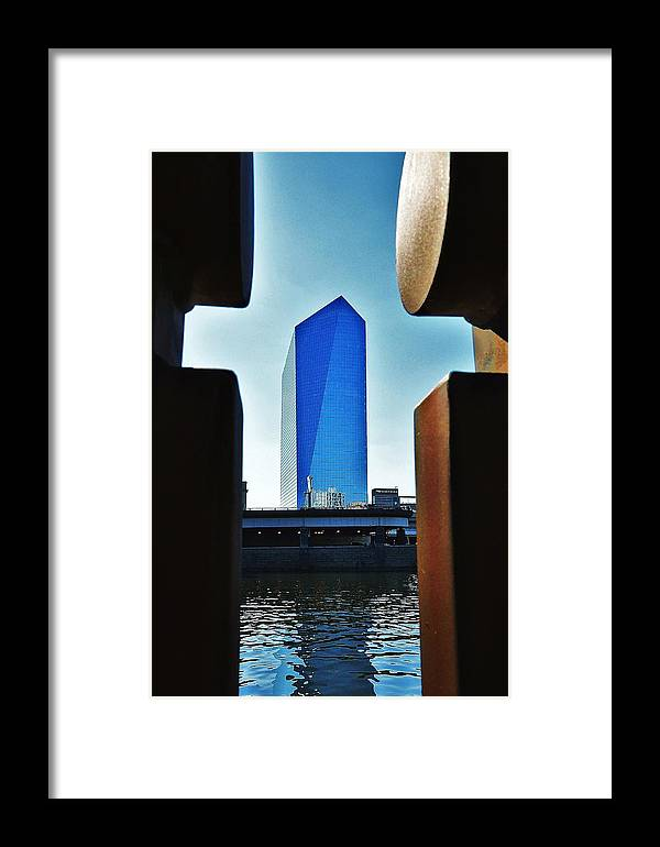 Philadelphia Skyline Framed Print featuring the photograph Cira Behind Bars by Andrew Dinh