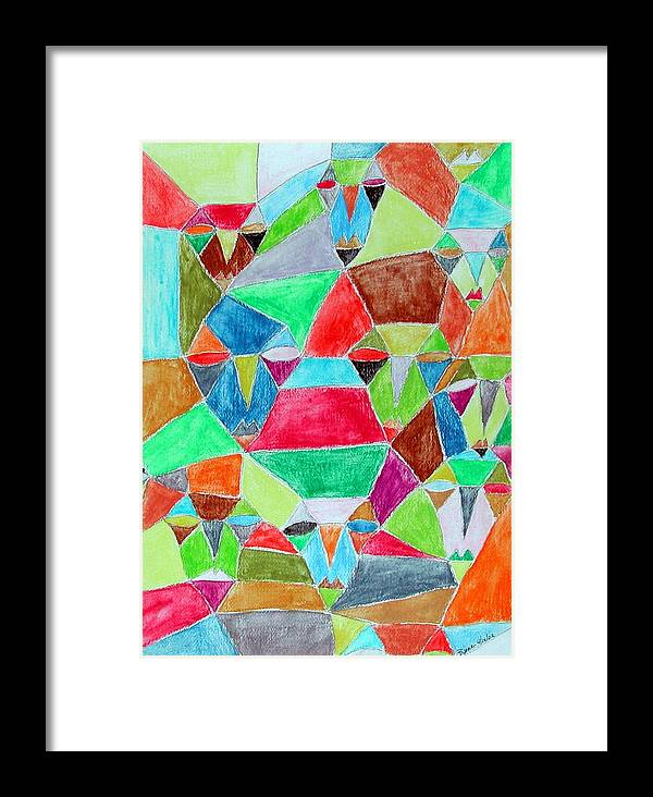 Abstract Framed Print featuring the painting Circle Of Friends by Margie Byrne