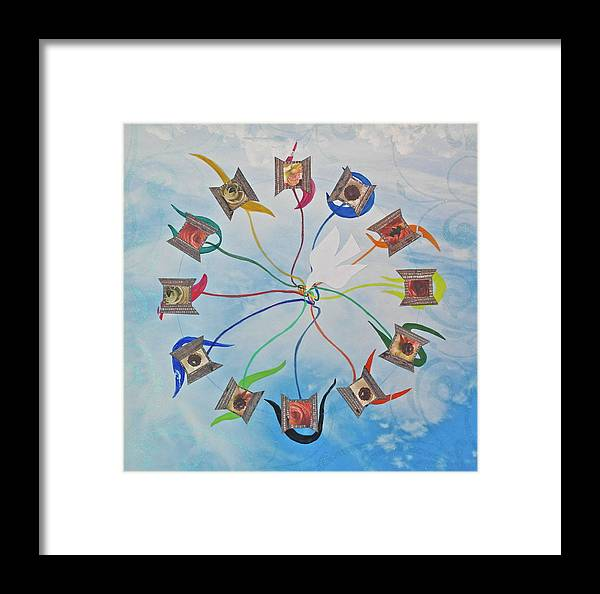Circle Framed Print featuring the mixed media Circle Of Hearts by Michele Myers