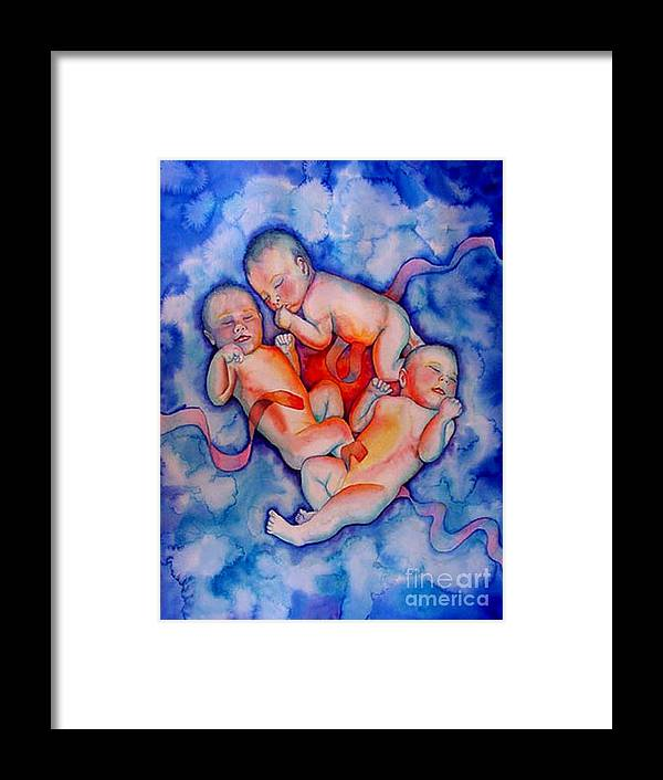 Babies Framed Print featuring the painting Circle Of Life by Gail Zavala