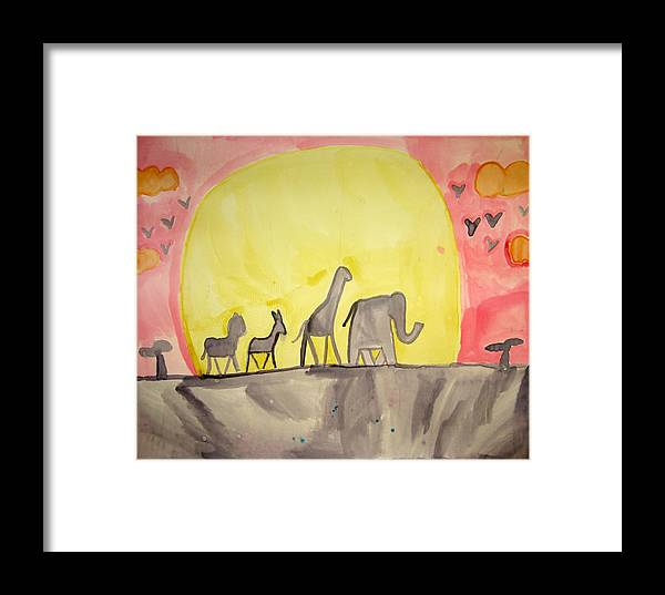 Anumals Framed Print featuring the painting Circle Of Life by Sean Cusack