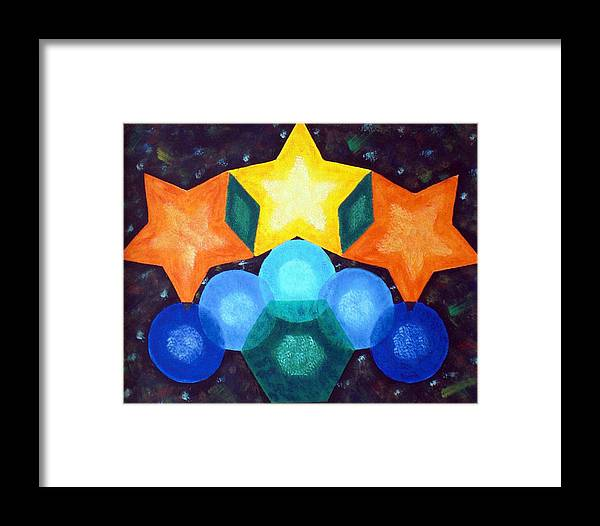 Shapes Framed Print featuring the painting Circles And Stars by Nancy Sisco