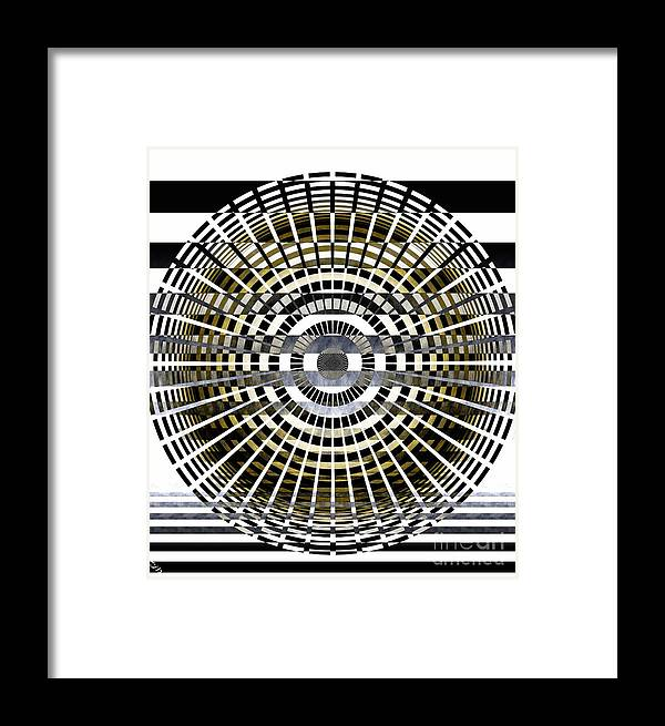 Circles Framed Print featuring the digital art Circles And Stripes 5 by Ron Bissett