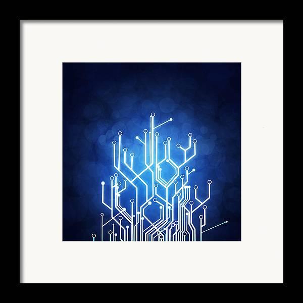 Abstract Framed Print featuring the photograph Circuit Board Technology by Setsiri Silapasuwanchai