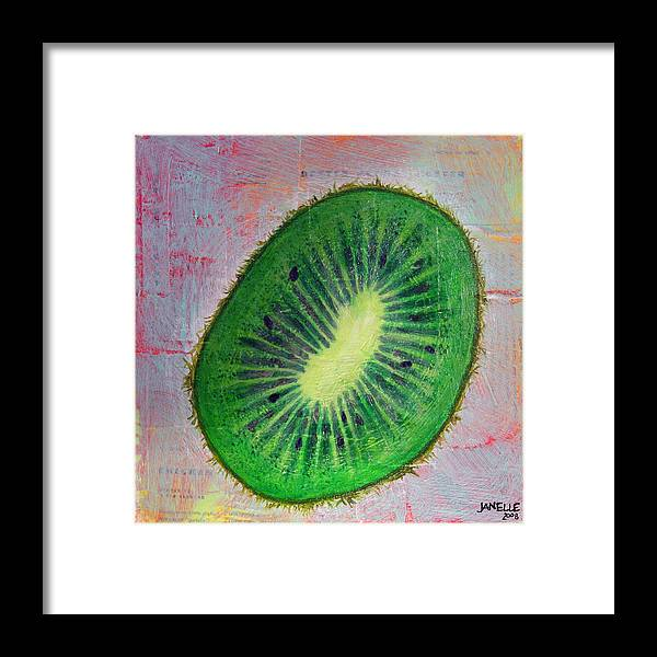 Kiwi Vegetable Fresh Bright Colorful Painting Mixed Media Janelle Schneider Paintbetty Framed Print featuring the painting Circular Food - Kiwi by Janelle Schneider