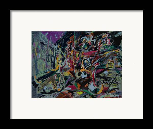 Fantasy Framed Print featuring the painting Circus In The Town by Tadeush Zhakhovskyy