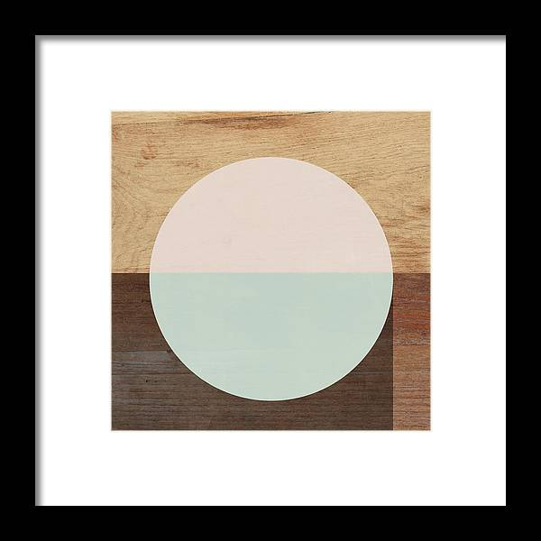 Modern Framed Print featuring the mixed media Cirkel in Peach and Mint- Art by Linda Woods by Linda Woods