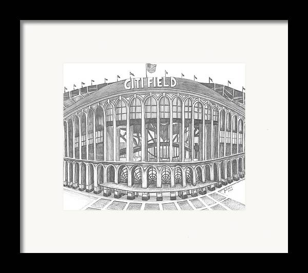 Citi Field Framed Print featuring the drawing Citi Field by Juliana Dube