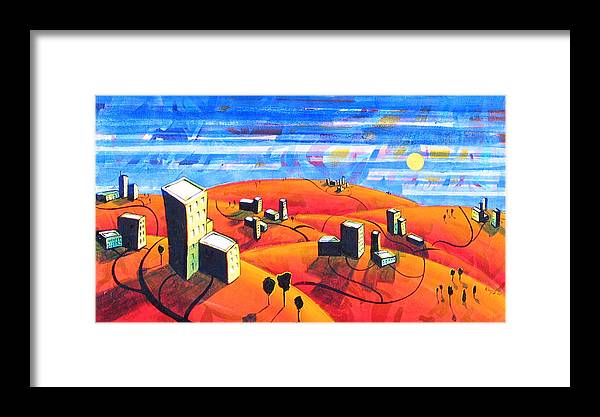 Landscape From Above Framed Print featuring the painting Cities And Towns by Rollin Kocsis