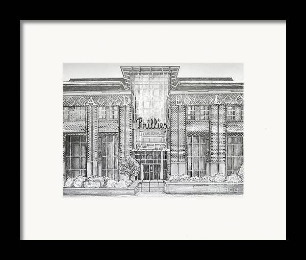 Citizens Bank Park Framed Print featuring the drawing Citizens Bank Park by Juliana Dube