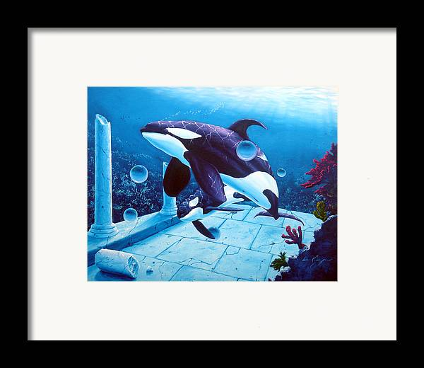Dolphin Framed Print featuring the painting Citizens Of The Lost Empire by Daniel Bergren