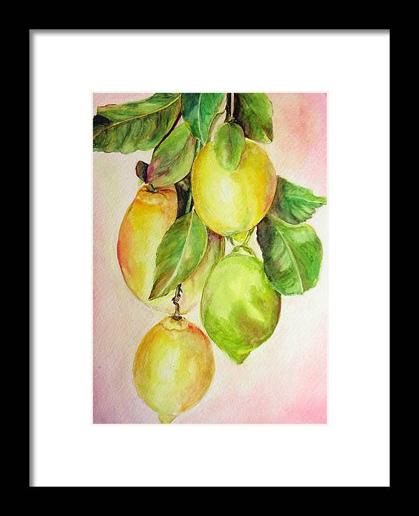 Still Life Framed Print featuring the painting Citrons by Muriel Dolemieux