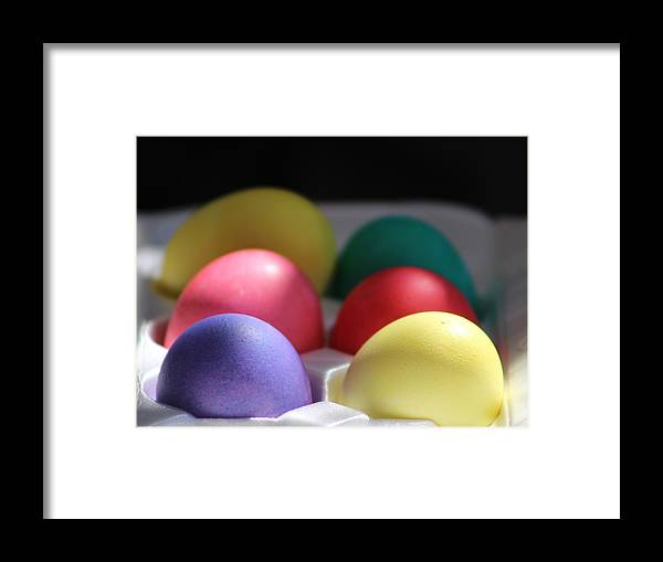 Dye Framed Print featuring the photograph Citrus and Ultra Violet Easter Eggs by Colleen Cornelius