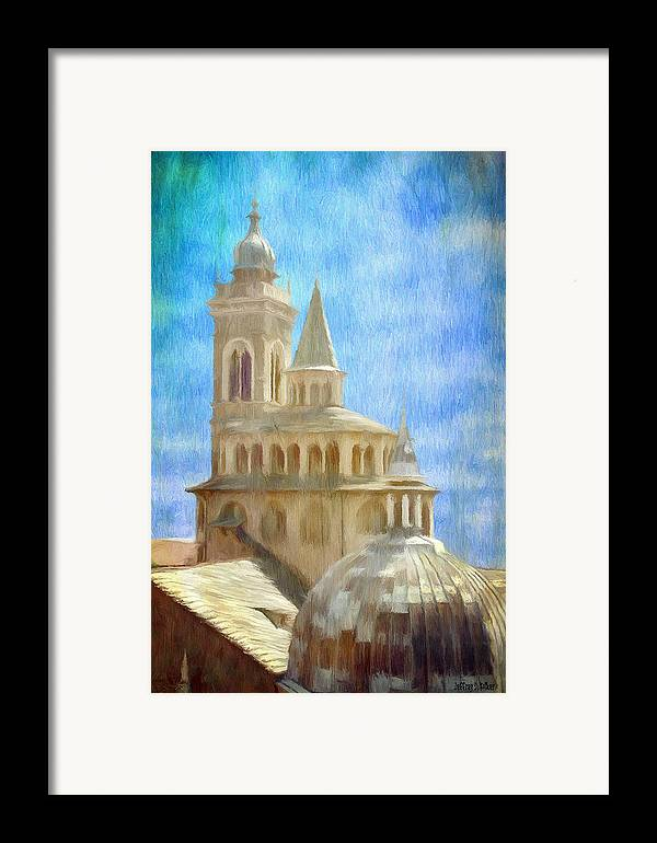 Above Framed Print featuring the painting Citta Alta From Above by Jeffrey Kolker