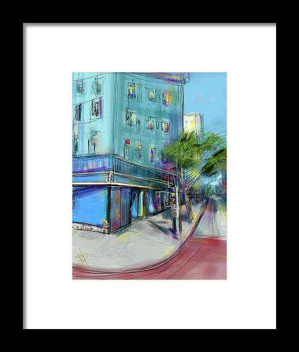 City Framed Print featuring the digital art City Blue by Russell Pierce