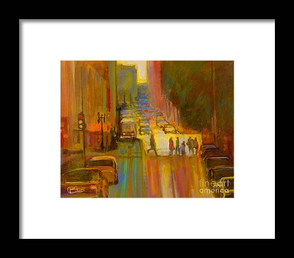 City Framed Print featuring the painting City Crosswalk by Kip Decker