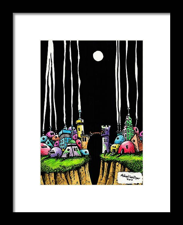 Michaelseanpiper Framed Print featuring the drawing City Gap by Michael Sean Piper