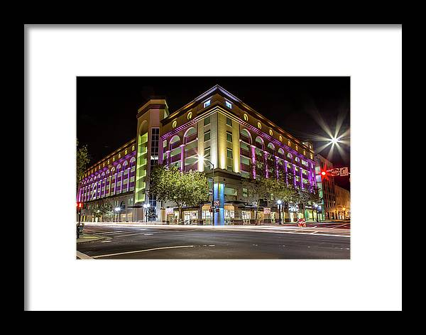 Long Exposure Framed Print featuring the photograph City Hall Parking Lot by Elizabeth Delgado